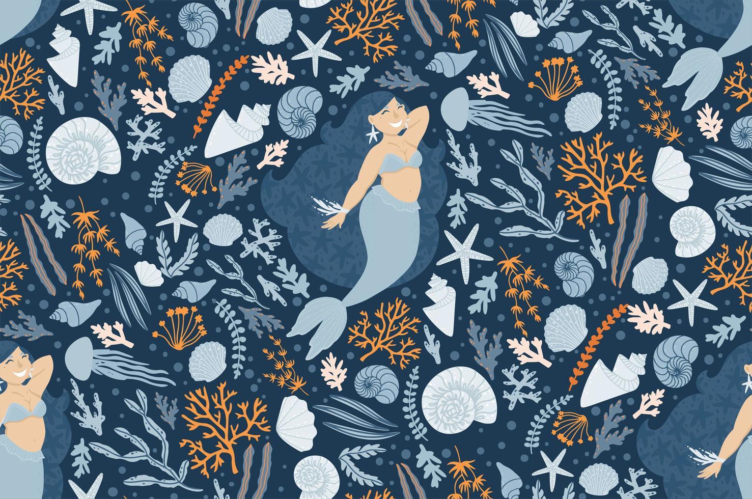 niedliches nahtloses Muster mit Meerjungfrauen, Pflanzen und Muscheln vektor