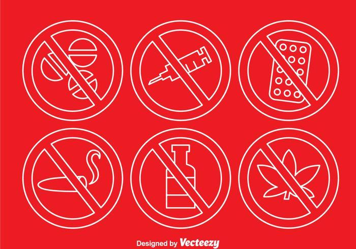 Inga droger Outline-ikoner vektor