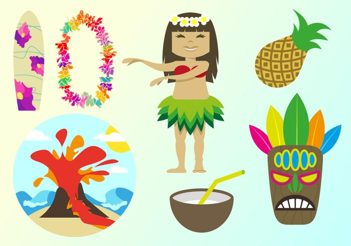 Hawaiianische Elemente Illustrationen Vektor