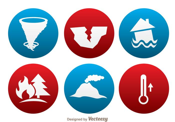 Naturkatastrophenkreis-Ikonen vektor