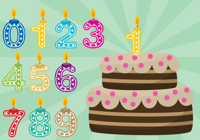 Geburtstagstorte mit Zahlen vektor