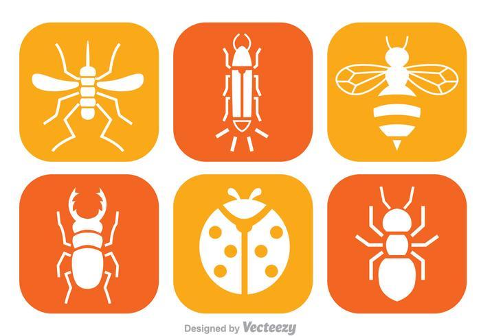 Insekt Weiße Ikonen vektor