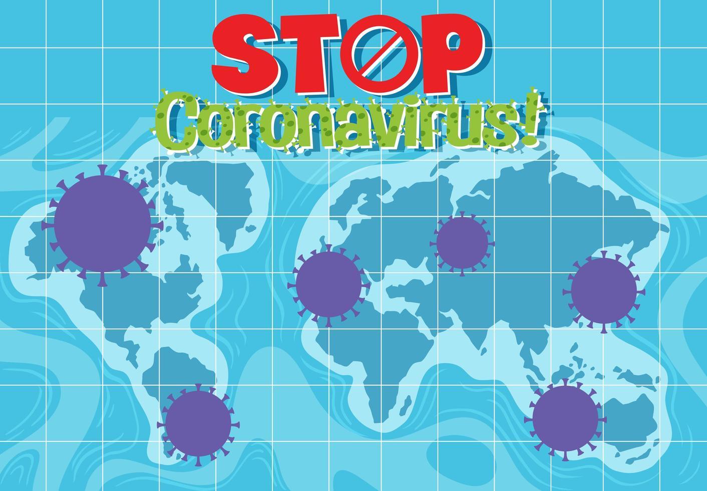 stoppa coronavirus världskarta vektor