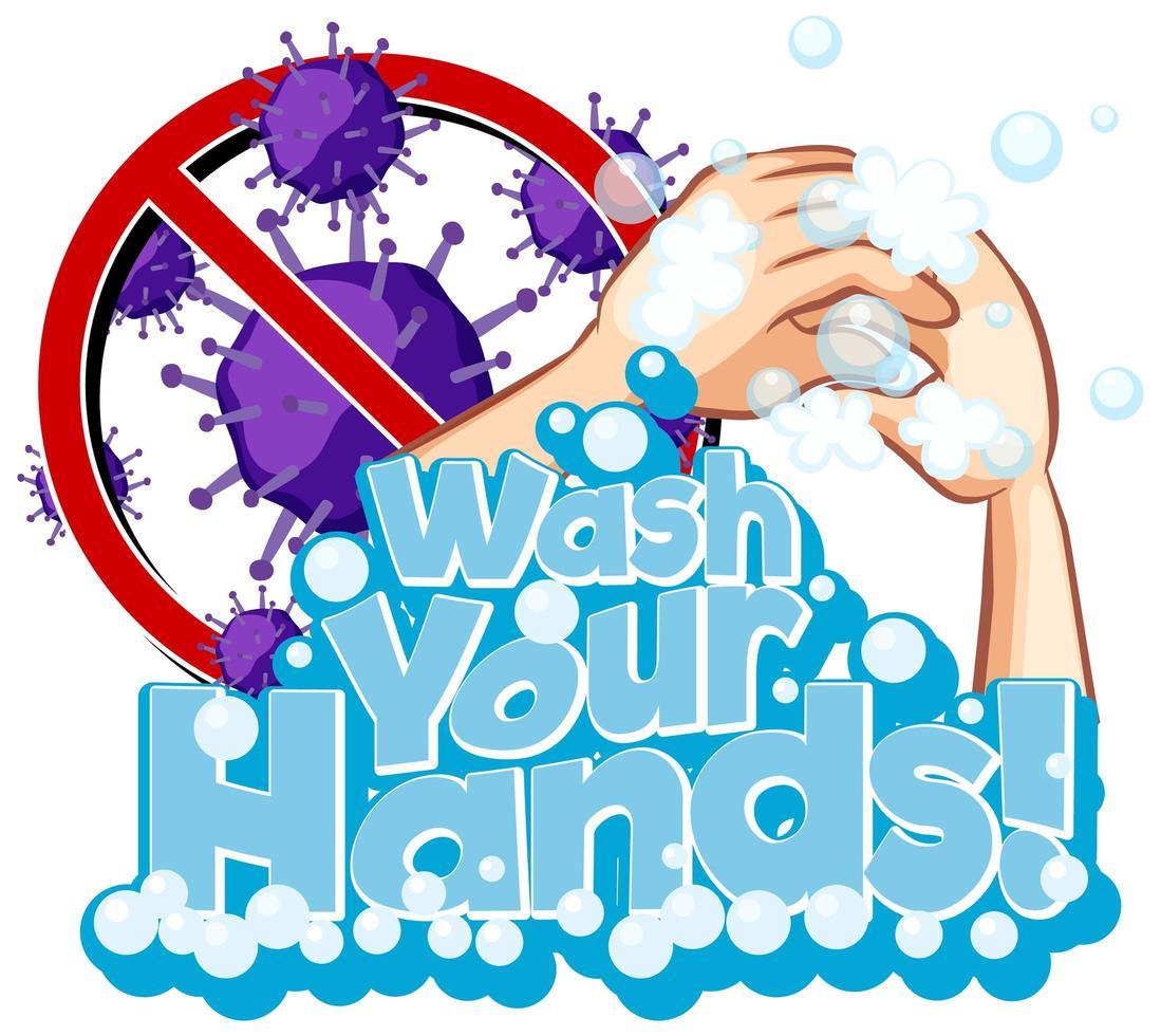 affisch för covid-19 med handtvätt vektor