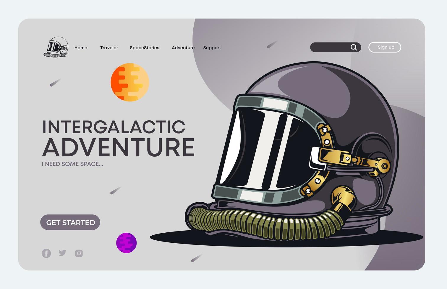 Space Helm Landing Page vektor