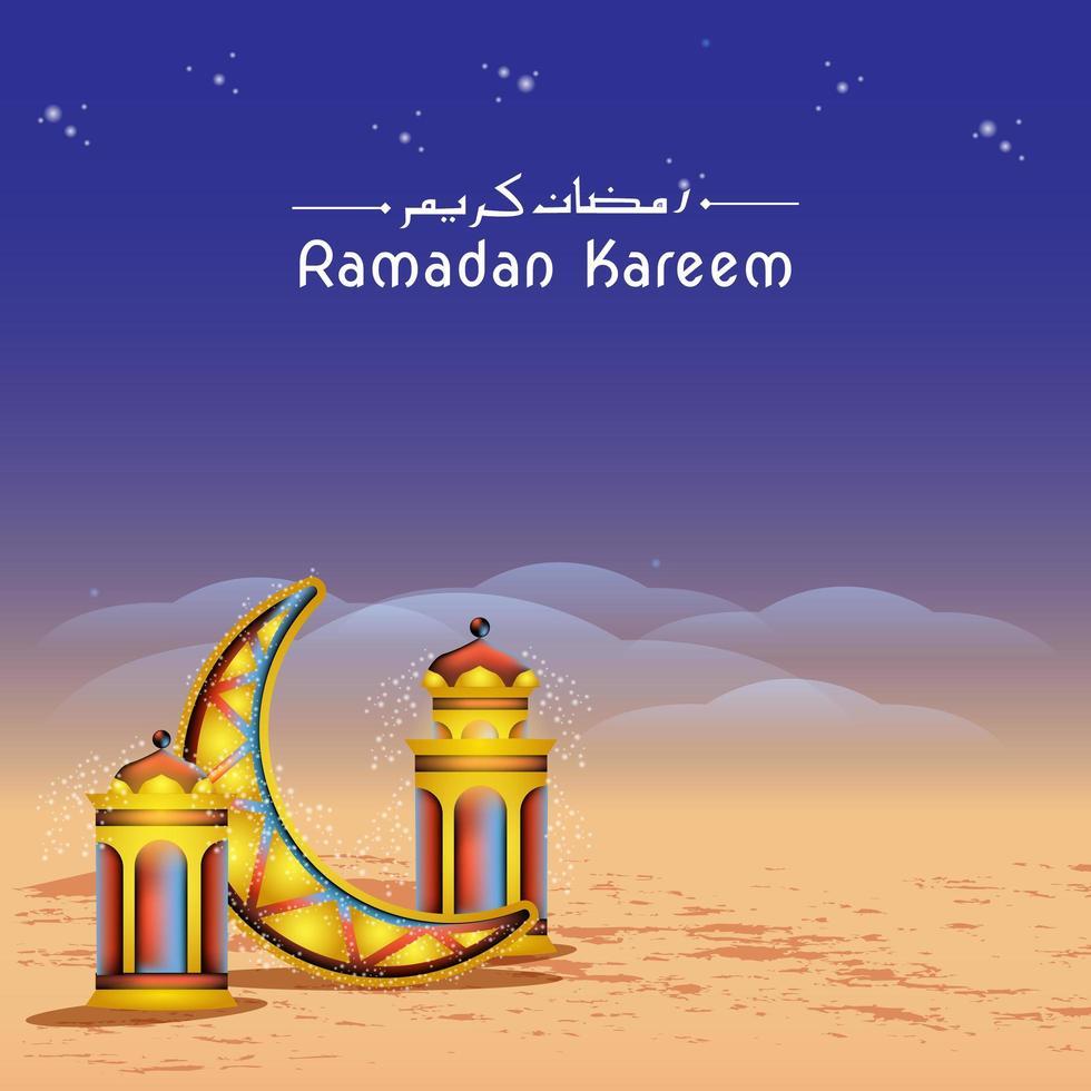 Ramadan Kareem Banner mit Mond in der Wüste vektor