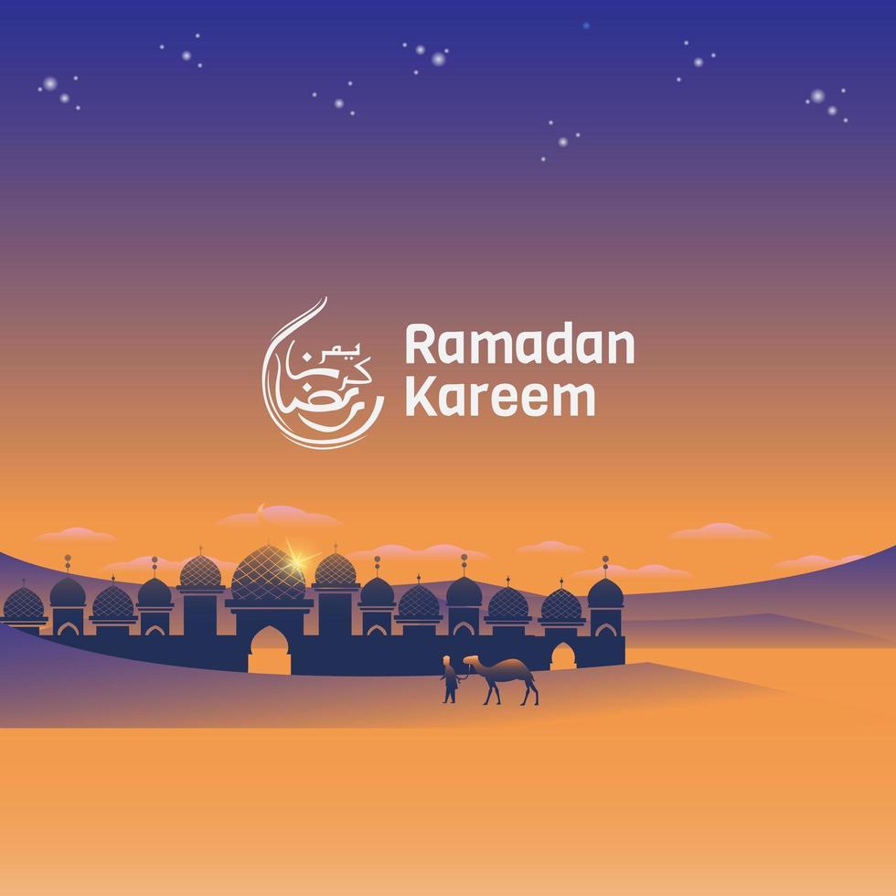 Ramadan Kareem Moschee im Wüstenbanner vektor