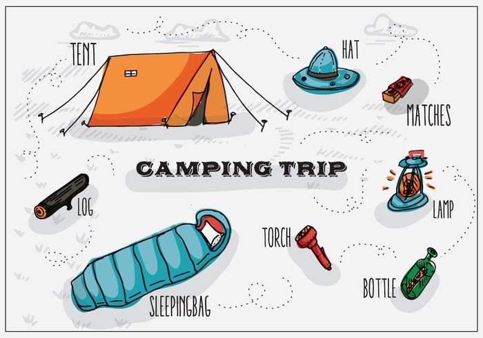 Gratis Hand Drawn Camping Vector Bakgrund