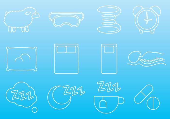 Madrass och sov ikoner vektor