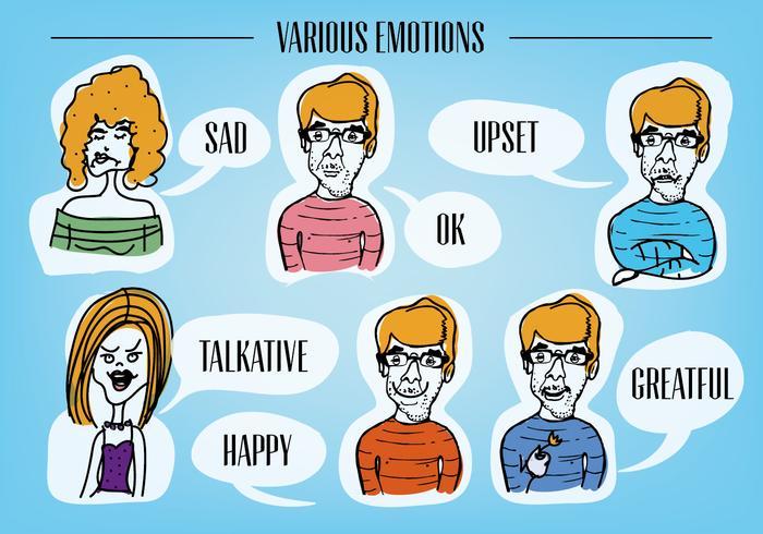 Gratis Diverse Emotion Faces Vector Background