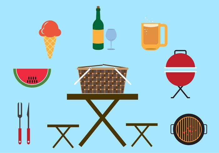 Sammlung von Elementen und Gegenstände für Picknick in Vektor