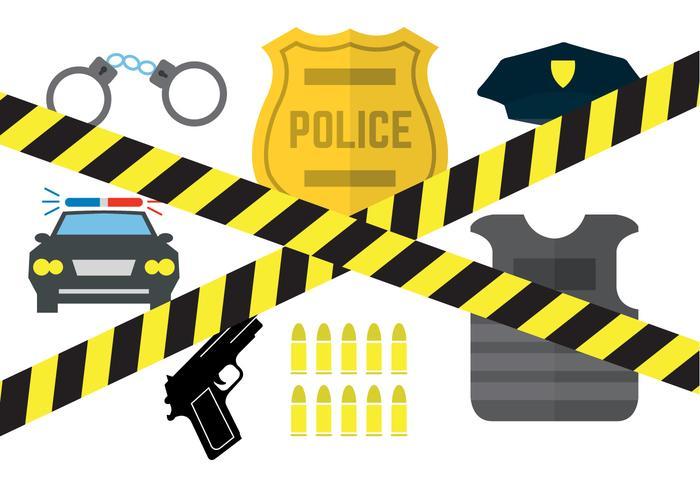 Vektor uppsättning av polisutrustning