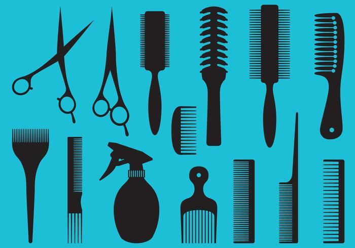 Barberverktyg silhuetter vektor