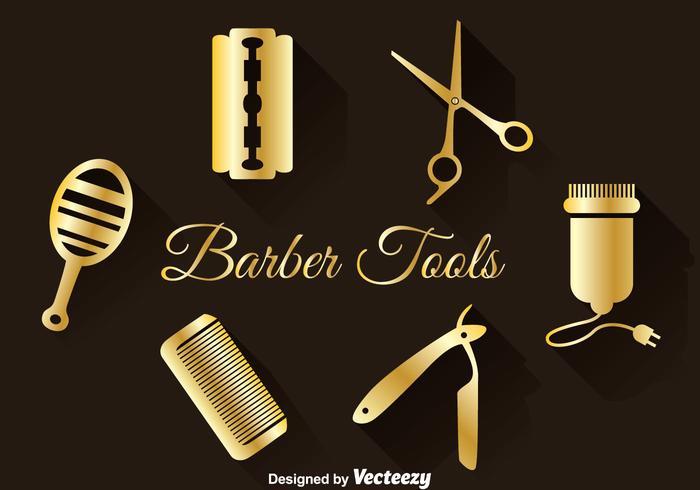 Goldene Friseurwerkzeuge Set vektor
