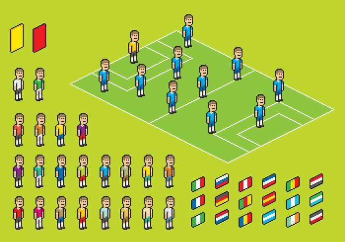 Pixel-Fußball-Spieler-Vektoren vektor