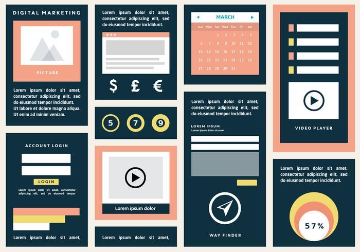 Flat Digital Marketing Vector Bakgrund