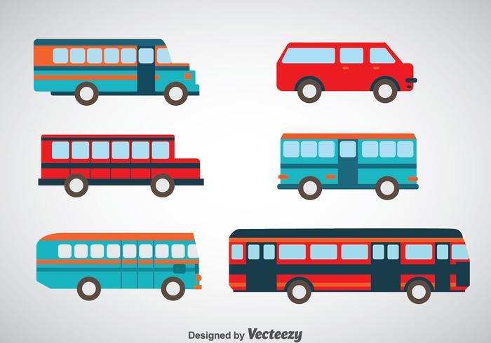 Minibuss- och bussuppsättningsvektorer vektor