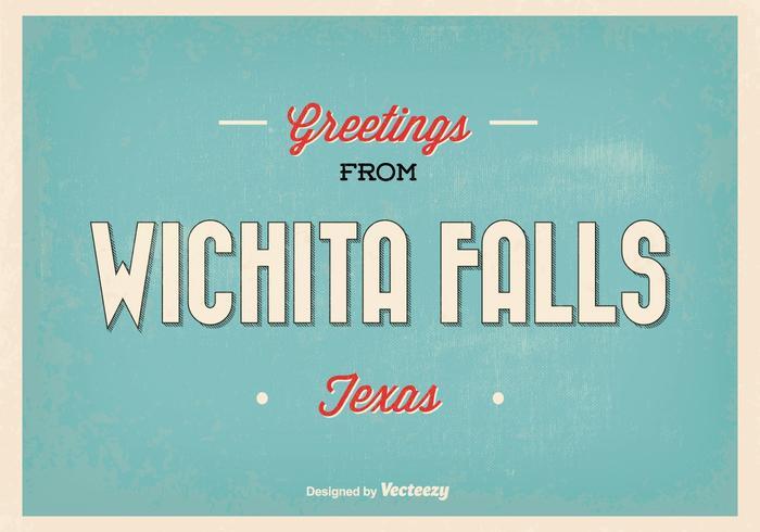 Retro Wichita Fälle Gruß Illustration vektor