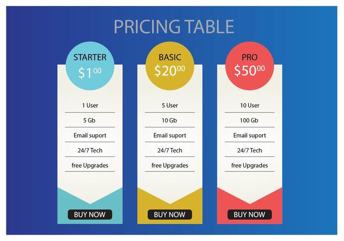 Preis Tabelle Vektor