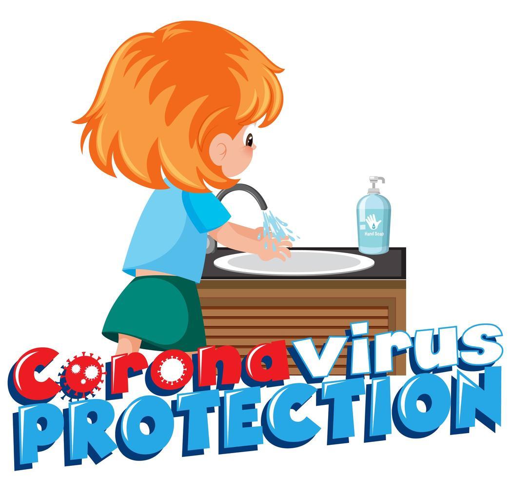 tjej rengöring hand för att förhindra korona virus vektor