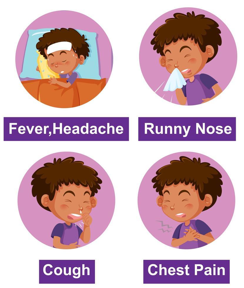 verschiedene Symptome mit krankem Jungen vektor