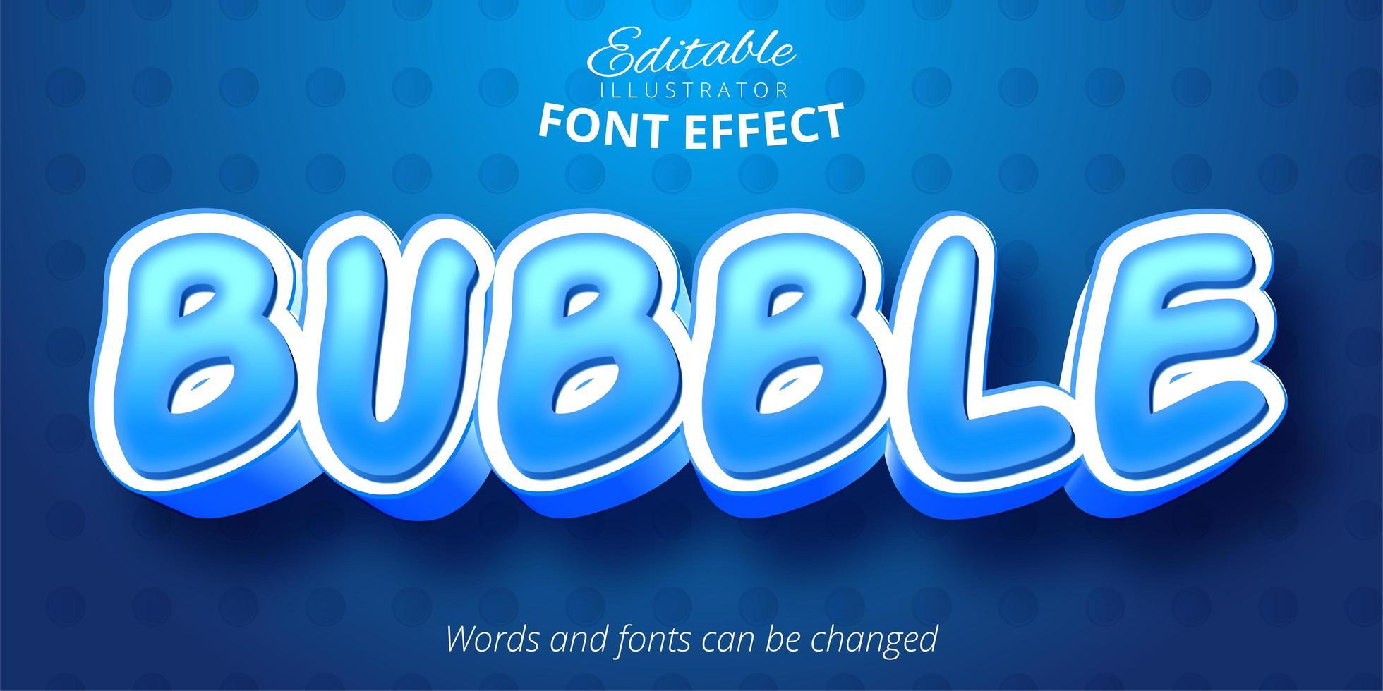 Bubble Blue bearbeitbarer Texteffekt vektor