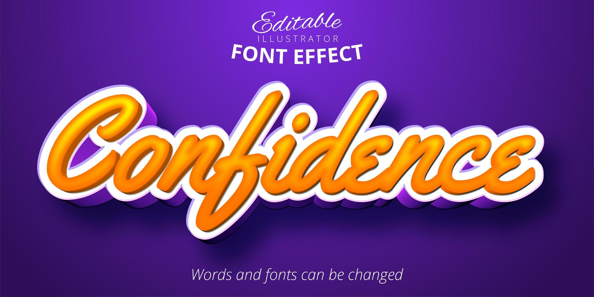 kalligrafisk stil, redigerbar texteffekt vektor
