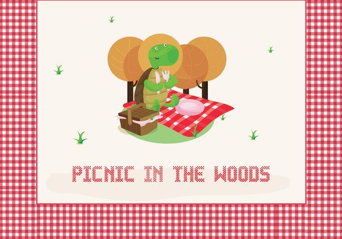 Freie Picknick-Illustration mit niedlichen Schildkröten Charakter vektor