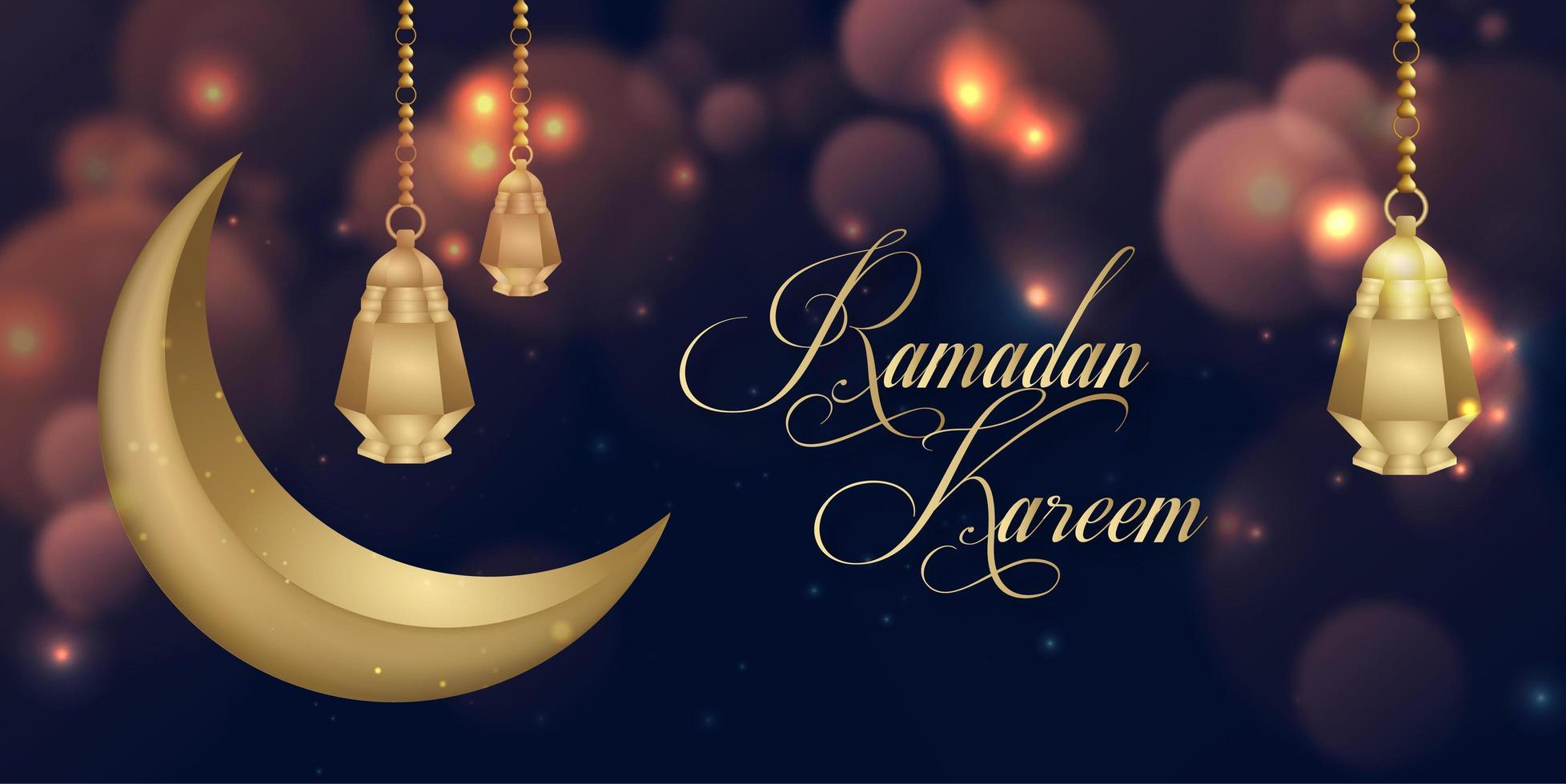 glödande ramadan kareem islamiska bakgrundsdesign för sociala medier vektor