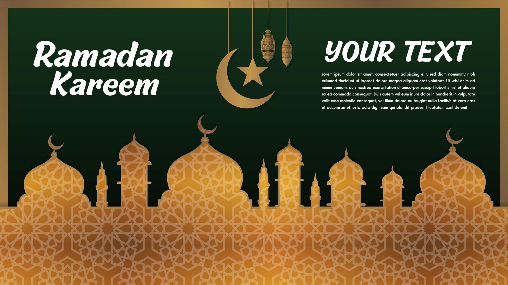guldmönstrad och grön. ramadan kareem hälsning vektor