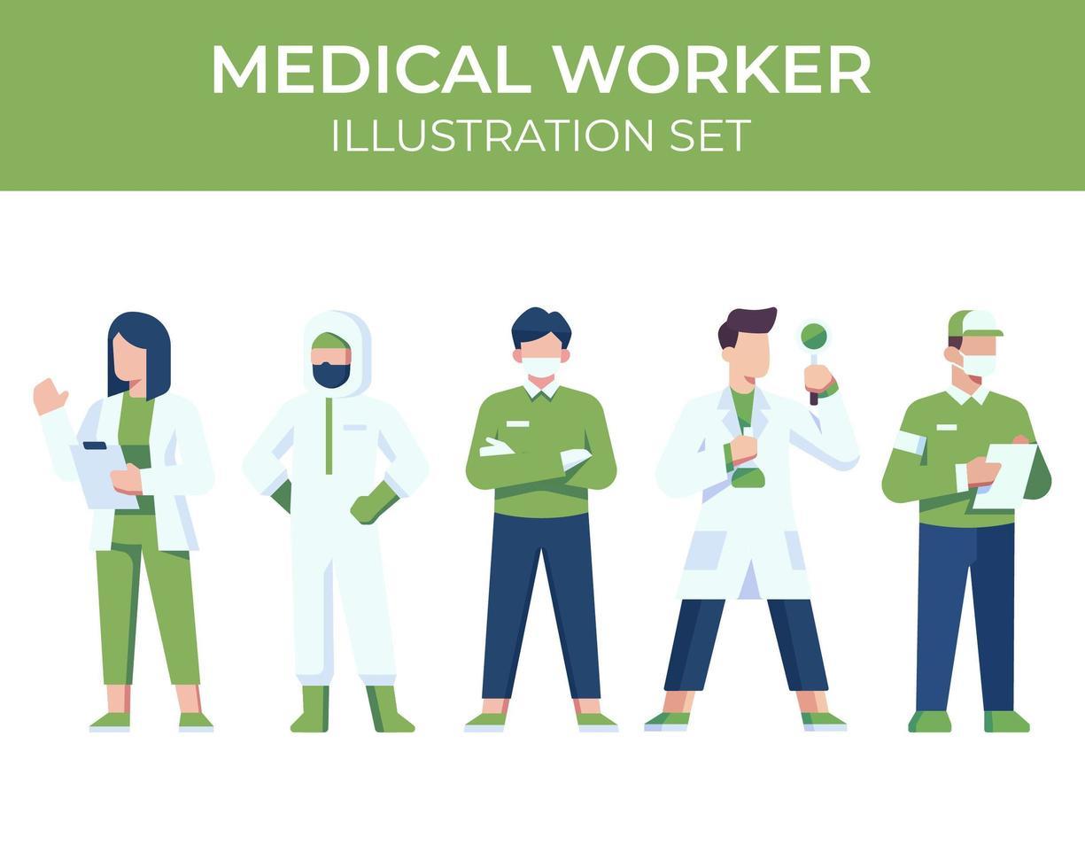 Zeichensatz für medizinische Mitarbeiter vektor