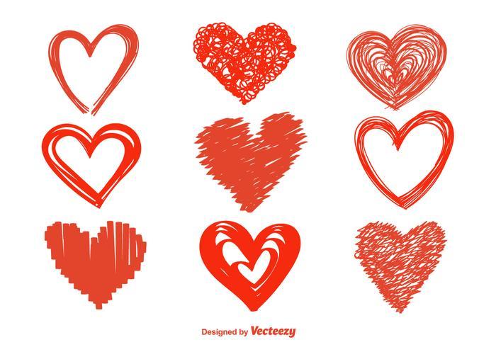 Handdragen hjärta vektor ikoner