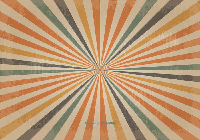 Retro färgad solburst vektor bakgrund