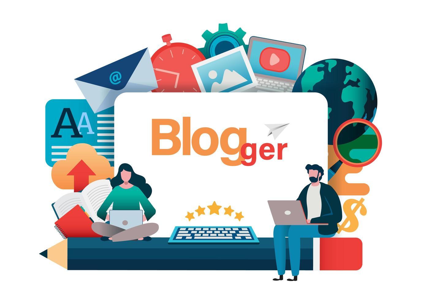 Blogger-Konzept mit Mann und Frau auf Laptops vektor