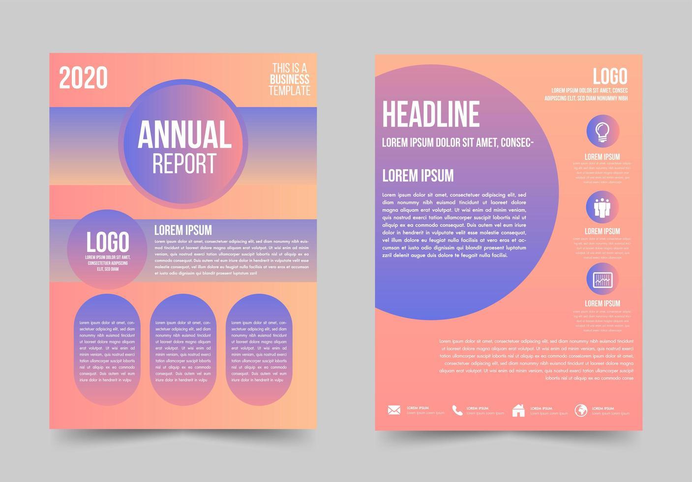 Business-Flyer mit Farbverlauf und abgerundeten Details vektor