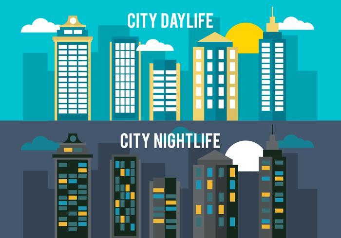 Gratis Flat City Life Vector Bakgrund