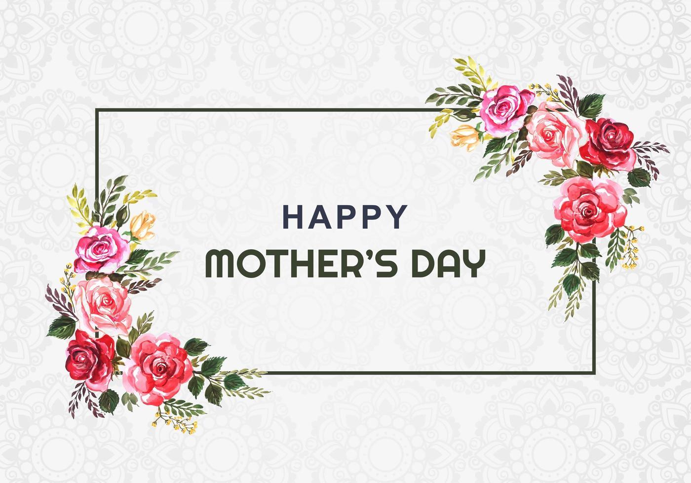 glückliche Muttertag Aquarell Blumenrahmenkarte vektor