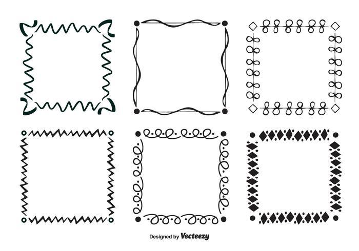 Handritad scribble stil vektor ram uppsättning
