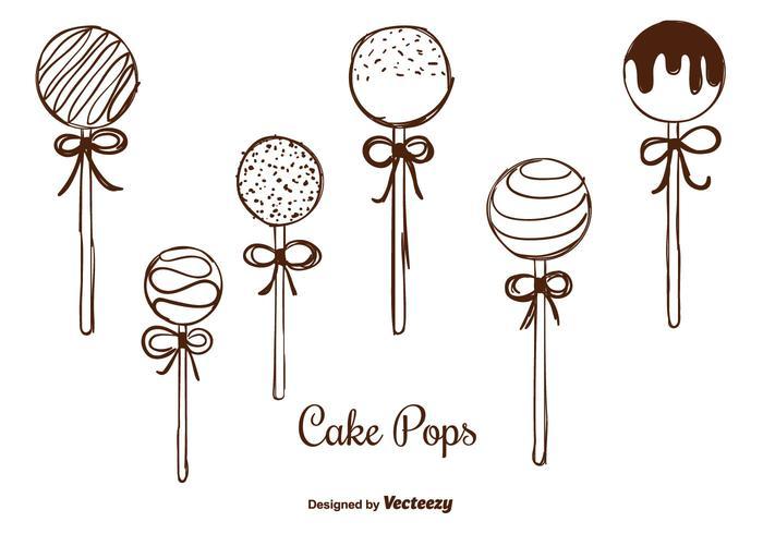 Hand gezeichnete Kuchen Pops Vektoren
