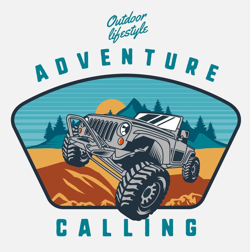Adventure Calling Design mit Geländewagen vektor