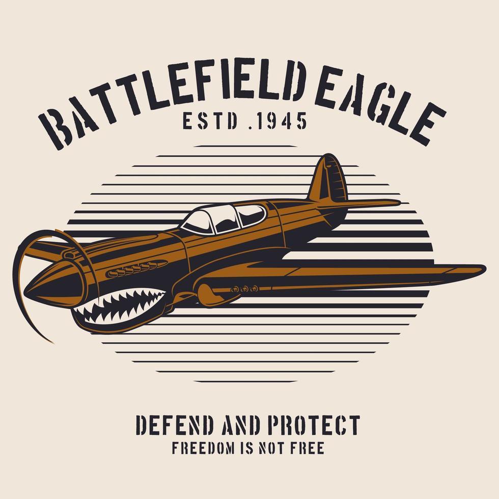 braunes Schlachtfeld Flugzeug Emblem vektor