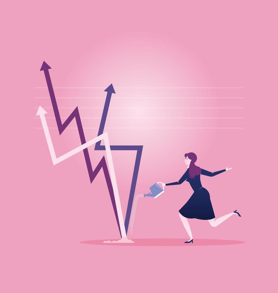 Geschäftsfrau, die nach oben Pfeilzeichen wässert vektor