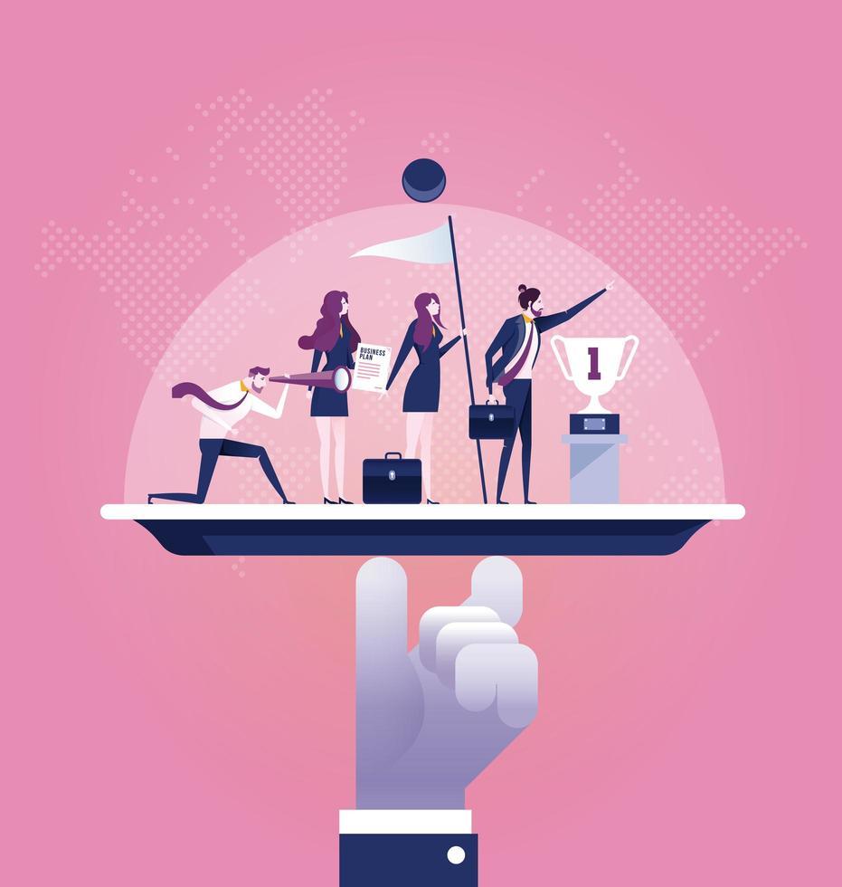 Business-Service-Team auf einer Platte vektor