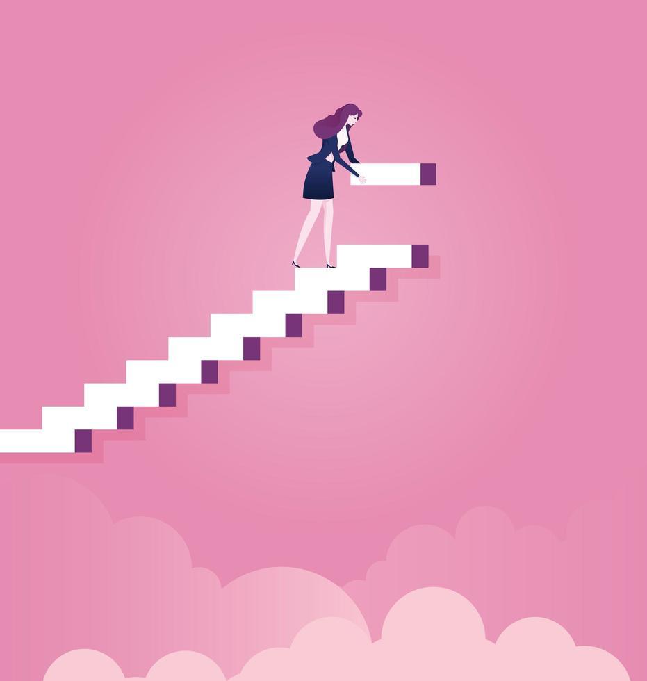 Geschäftsfrau baut Schritte für die Karriere vektor