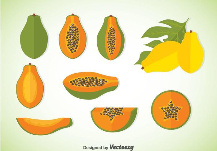 Papaya vektor uppsättningar