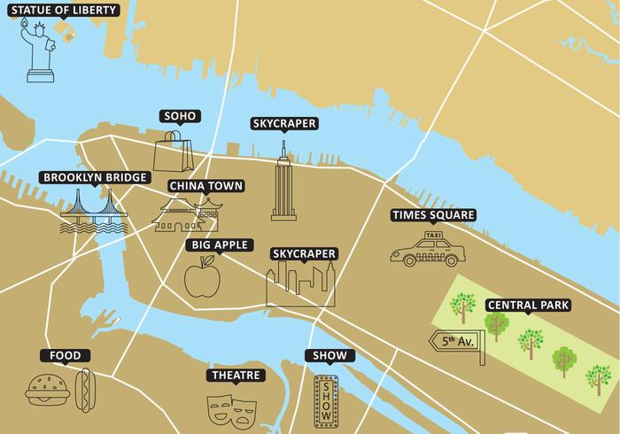 Turistkarta New York Vector