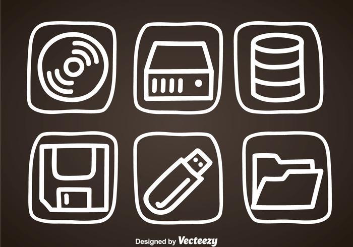 Digitale Speicher Hand Draw Icons vektor