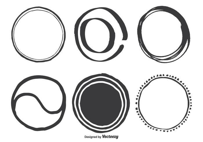 Handdragna olika cirkelvektorformer vektor