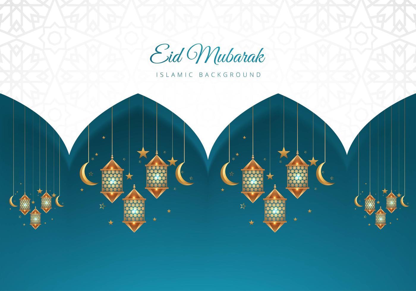 eid mubarak islamischer blauer und weißer Laternenhintergrund vektor
