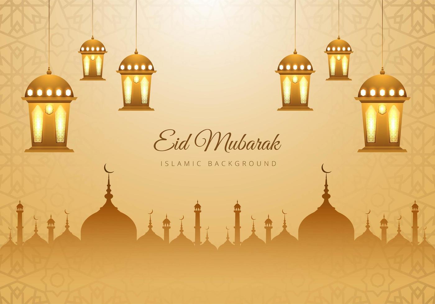 islamiska eid mubarak tan moskén silhuett lyktor bakgrund vektor